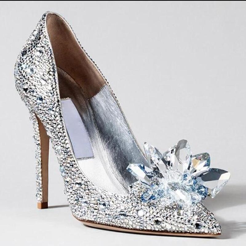 choudory cinderella shoes 2017 women pumps sexy prom rhinestone wedding shoes bridal high heels pointed toe
