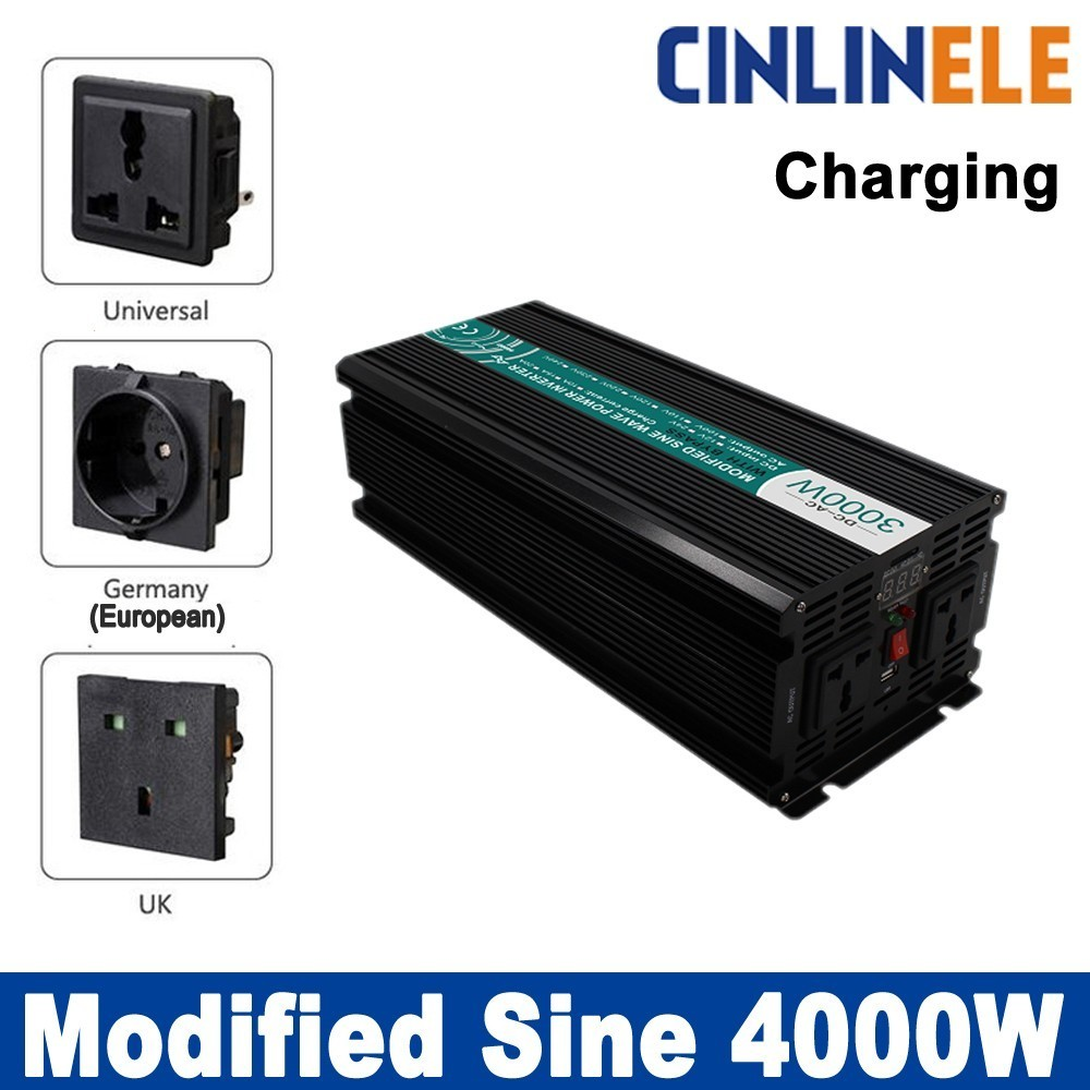 Smart Inverters Charge 4000W Modified Sine Wave Inverter CLM4000A DC 12V 24V 48V to AC 110V 220V 4000W Surge Power 8000W smart inverters charger 4000w pure sine wave inverters clp4000a dc 12v 24v to ac 110v 220v 4000w surge power 8000w