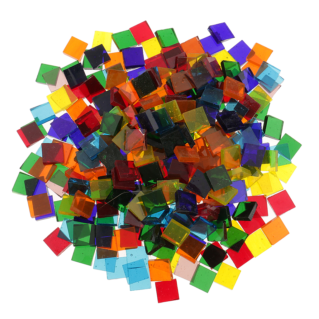 500pcs Assorted Color Square Clear Glass Mosaic Tiles for ...