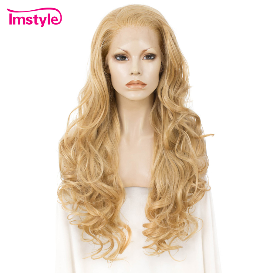 Imstyle Synthetic Lace Front Wigs Long Wavy Blonde Wigs For Women Heat Resistant Fiber Lace Wig