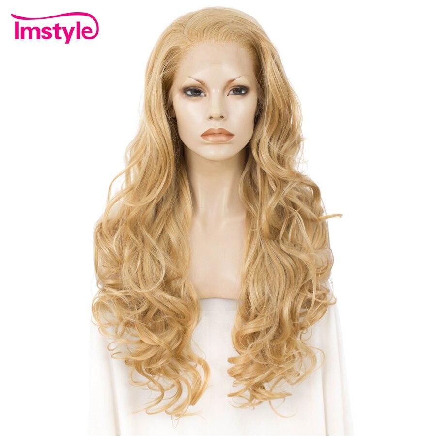 Imstyle химическое Синтетические волосы на кружеве парики длинные волнистые светлые парики для Для женщин термостойкие волокна кружева парик ...