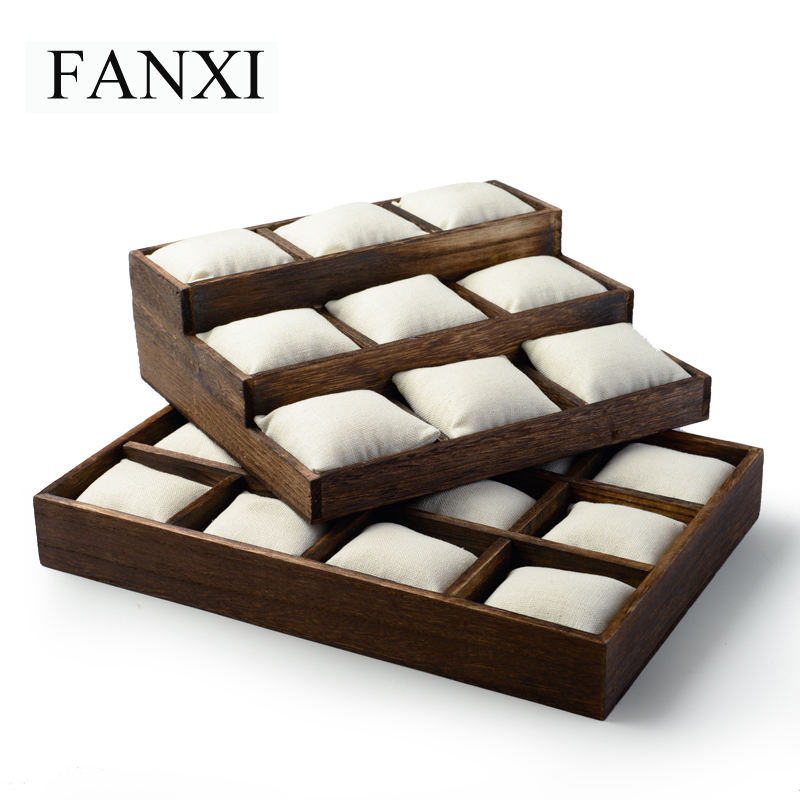 FANXI Vintage Wooden Jewelry Display Tray For Bangle Bracelet Watch Holder With Linen Pillow for Shop Counter Jewelry Organizer