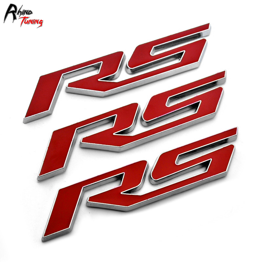 Rhino Tuning 1Set Red RS Car Front Grill Grille Emblem RS Auto Badge Sticker For Suburban Camaro Corvette 204 new auto car super bee for charger srt8 front grill grille emblem badge 02