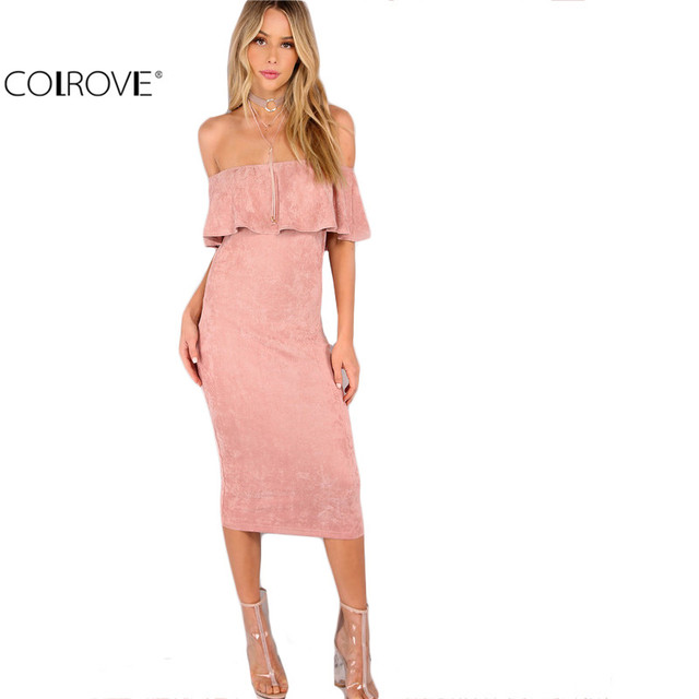 a059741a9cad6 COLROVIE Woman Party dresses Elegant Evening Sexy Club Dresses New Arrival  Pink Faux Suede Off The Shoulder Ruffle Dress -in Dresses from Women's ...