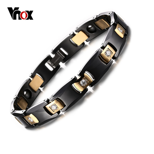 Vnox negro y chapado en oro cz encantos cadena de la salud bio energía pulsera brazalete de cerámica mujeres y hombres joyería