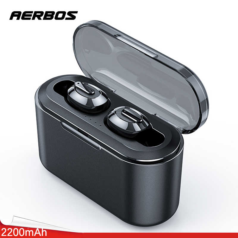 AERBOS TWS Bluetooth Earphone T2 Wireless Headphone Bluetooth 5.0 Earphones With 2200 mAh Power Bank Running Sport Earbuds