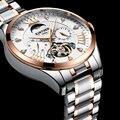 KINYUED Tourbillon часы для мужчин Топ бренд Мужские автоматические механические часы из нержавеющей стали водонепроницаемые Роскошные Алмазные ...