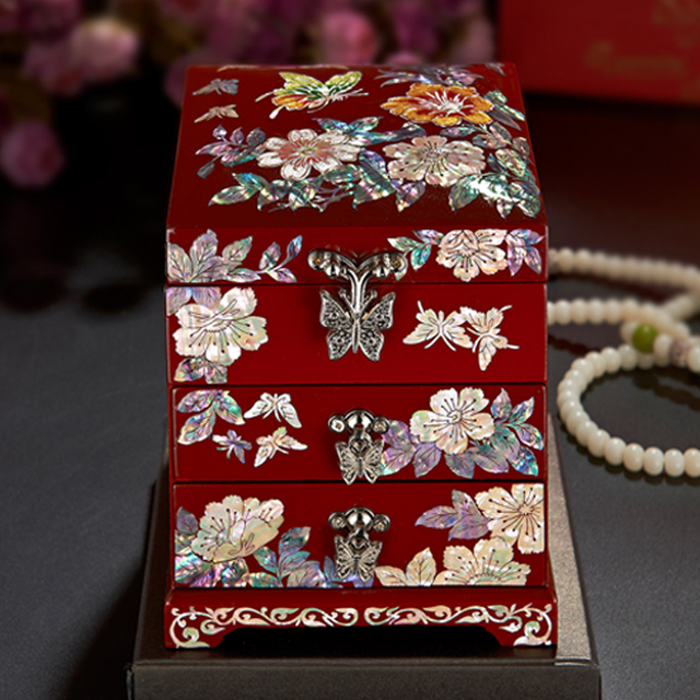 Vintage Jewelry Box Organizer Storage Case Wood Flower Pattern