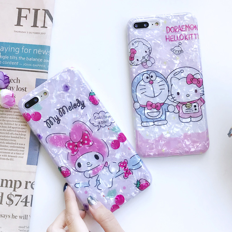 For iPhone 8 8Plus Conch Shell Case Cute Doraemon kitty Melody back Cover for iPhone X 7 7plus 6 6S 6SPlus Cartoon case