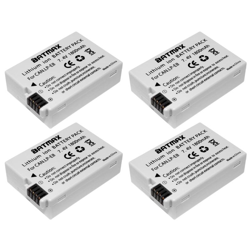4X LP-E8 LP E8 LPE8 Batterie Appareil Photo pour Canon EOS 550D 600D 650D 700D Baiser X4 X5 X6i X7i Rebel T2i T3i T4i T5i Batteries