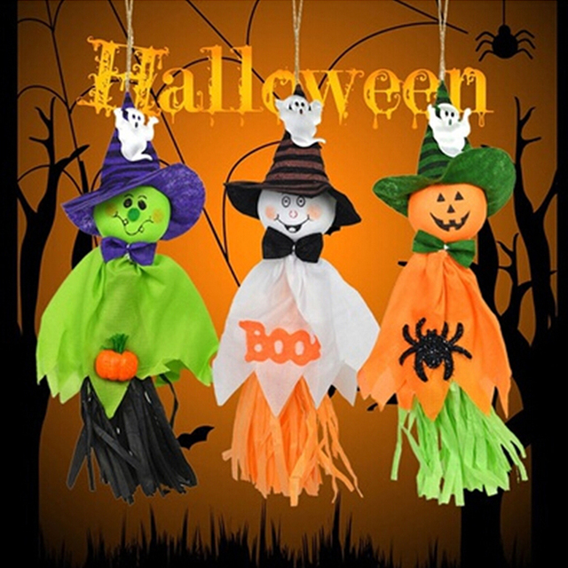 Us 2 45 5 Off Scarecrow Horror Ghost Pendant Halloween Party Diy Craft Bar Halloween Hanging Decoration Supplies Gifts For Kids Children In Party