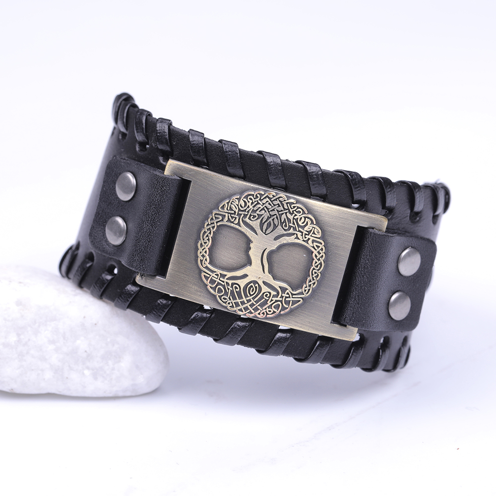 Viking Tree of Life  Wrap  Metal Leather Bracelet