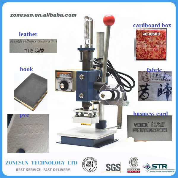 5cm x 7cm hot Foil Stamping Machine Manual Bronzing Machine for PVC, leather, bags, shoes, wood, paper, book, card zonesun hot foil stamping machine manual bronzing machine for pvc card leather and paper stamping machine