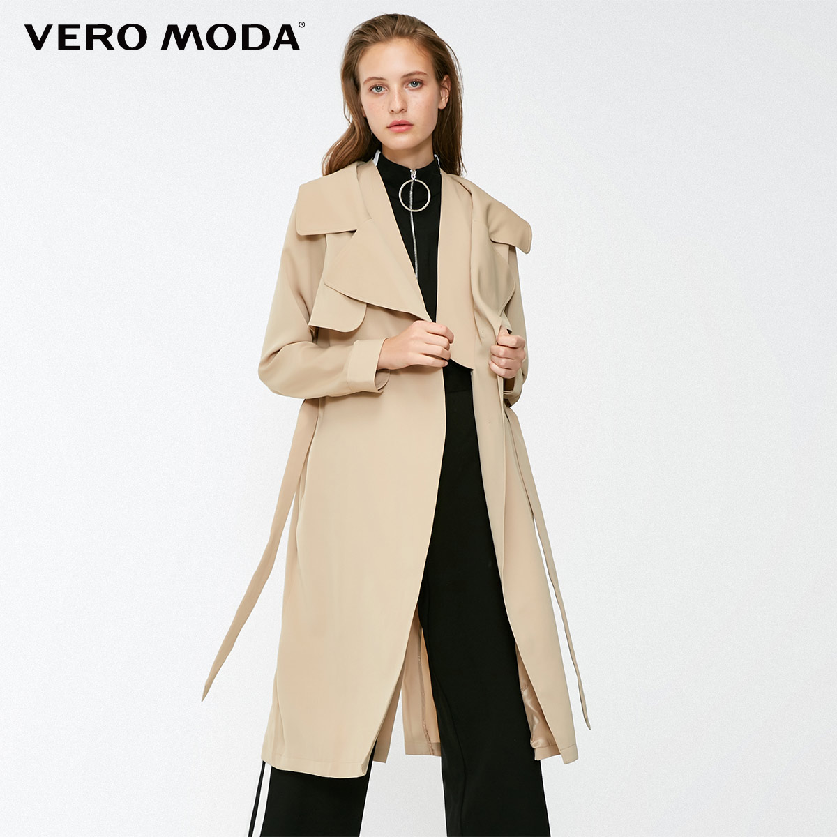 Vero Moda 2019 New Women's OL Style Two-tiered Lapel Lace-up Minimalist Wind Coat   Trench   Coat | 318421502