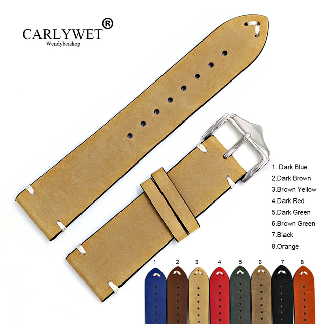CARLYWET 20 22 24mm Cowhide Suede Leather Black Orange Vintage Watch Band Strap