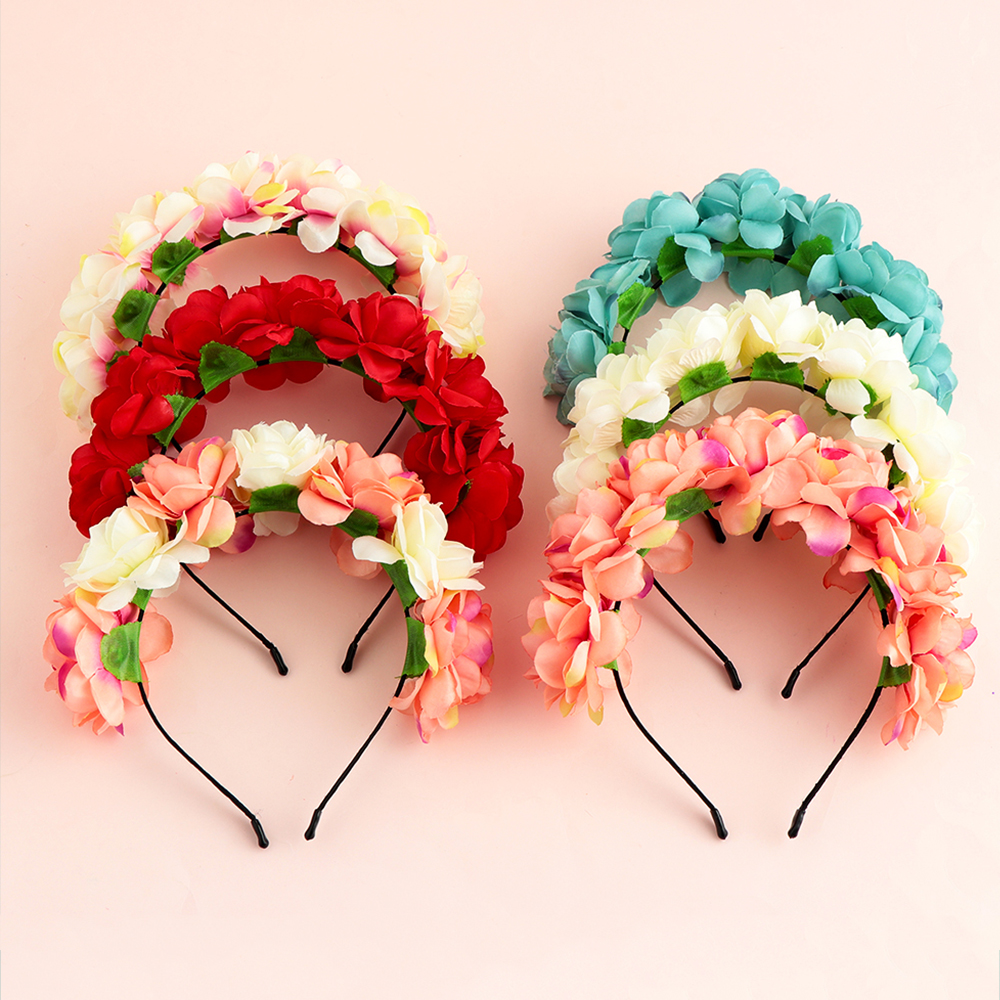 Fashion Women Bride Flowers Headband Mexican Style Rose Flower Crown Hairband Ladies Elastic Beach Hair Accessories