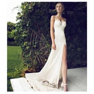 Image 4 - SoDigne 2018 חתונת שמלת אפליקציות תחרה בת ים חתונת שמלה עם רכבת לבן/שנהב ללא משענת חוף שמלות הכלה G1019