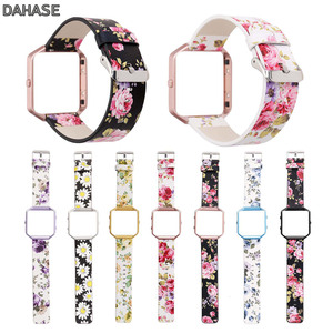 Image 1 - DAHASE Floral Leather Watchband 23mm Flower Strap Replacement Watch Strap For Fitbit Blaze Band w Colorful Metal Frame
