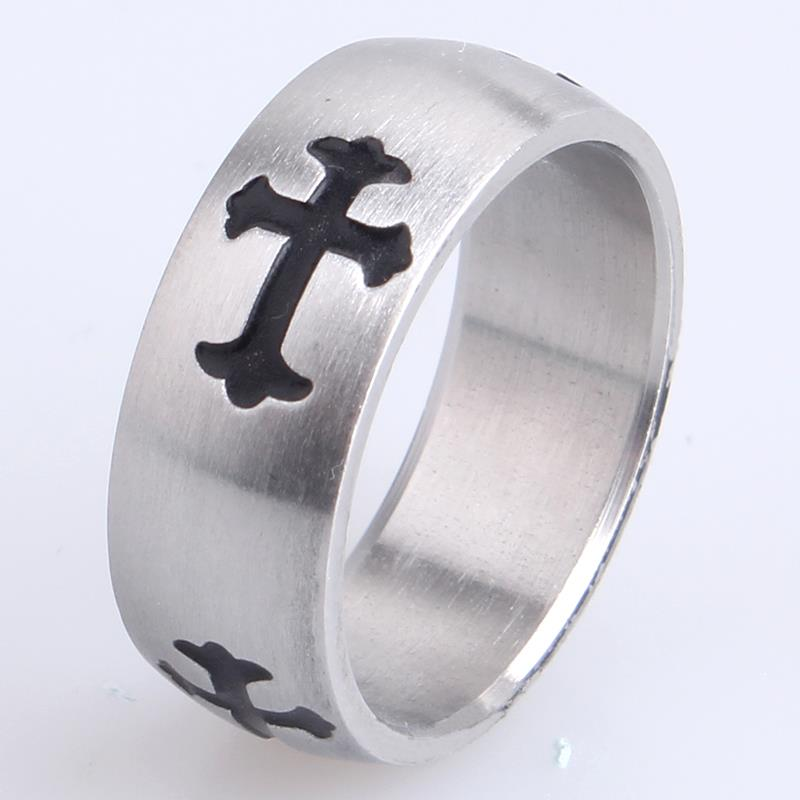 free shipping 8mm black carved cross 316l Stainless Steel finger rings for men women wholesale