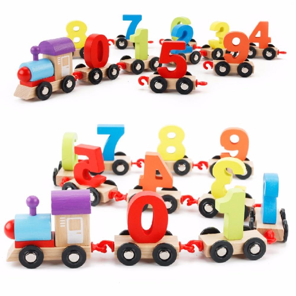 Узор 0-9 номер MWZ деревянный обучения детей Математика Собирает игрушки Цифровой Красочные поезд Развивающие Конструкторы автомобиля