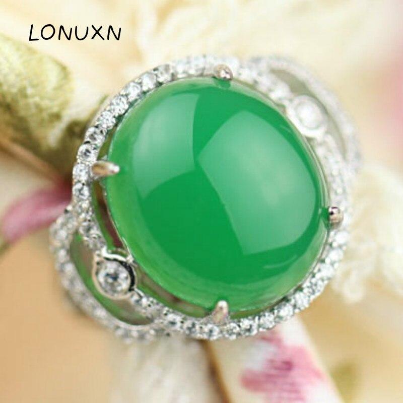 2*1.8 cm 925 argent Sterling taille redimensionnable anneaux Vintage haute qualité femmes bijoux pierre semi-précieuse naturelle calcédoine verte