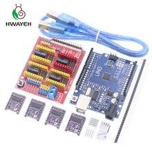 Cnc щит V3 гравировальный станок 3D Printe + 4 шт. DRV8825 Плата расширения драйвера для Arduino UNO R3 с USB кабелем