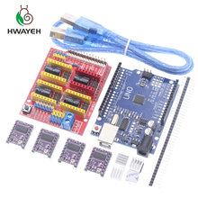 Cnc bouclier V3 machine de gravure 3D Printe + 4 pièces DRV8825 carte dextension de pilote pour Arduino UNO R3 avec câble USB