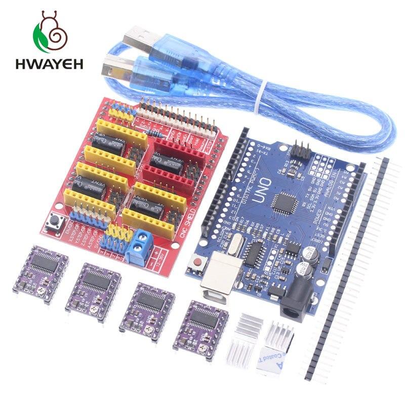 Envío Gratis cnc shield V3 grabado 3D Printe + 4 piezas DRV8825 placa de expansión del controlador para Arduino UNO R3 con cable USB