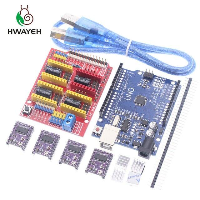 Macchina per incidere di cnc shield V3 3D Printe + 4pcs DRV8825 driver di scheda di espansione per Arduino UNO R3 con USB cavo