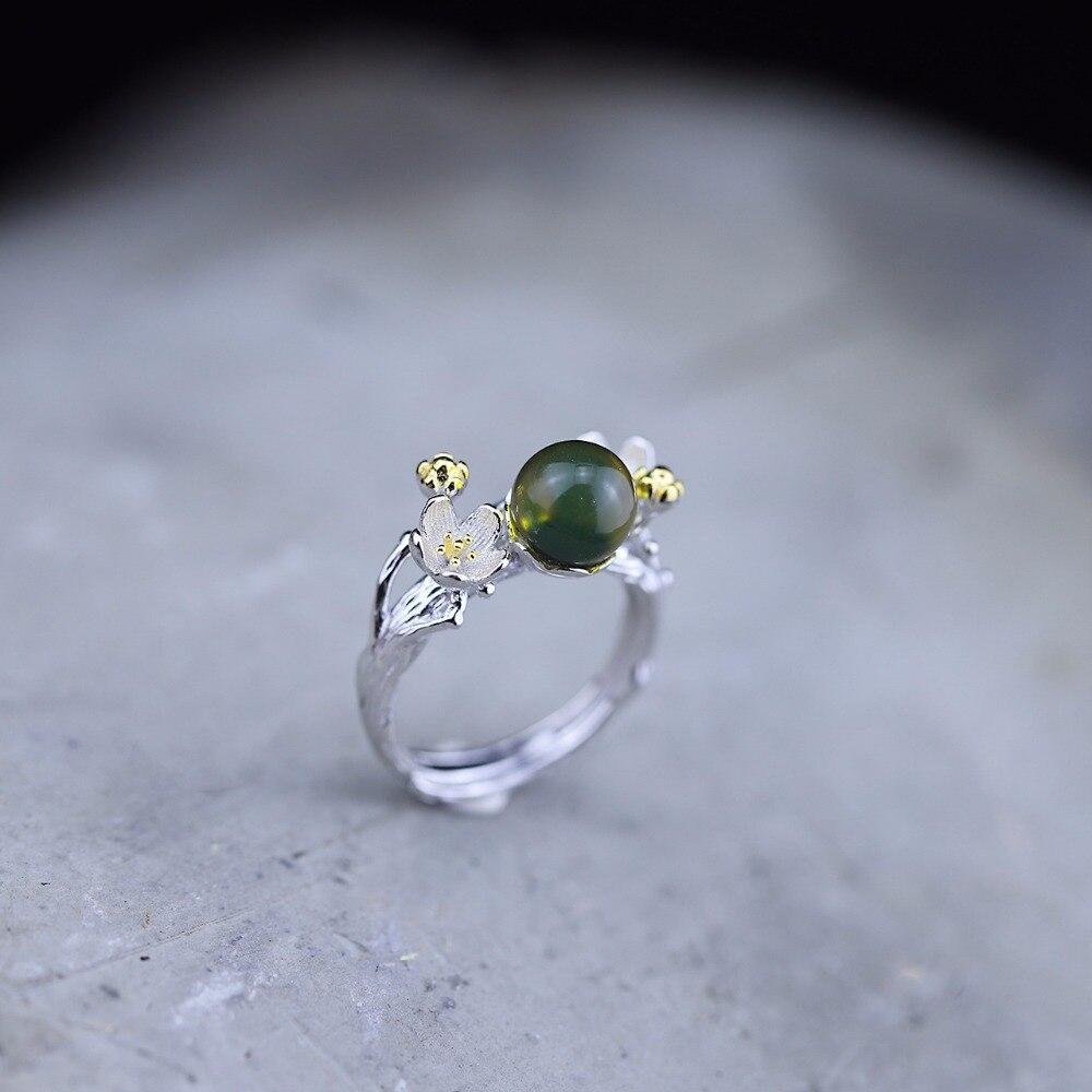 Véritable 925 en argent Sterling naturel ambre fait à la main Designer Bijoux fins à la recherche de fleurs anneaux réglables pour les femmes Bijoux