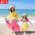 2016 Summer Matching Mother Daughter Dresses Girl Dress For Party Holiday Family Clothes Vestido Mae E Filha Bohemian Hot Sale