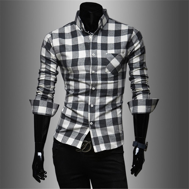 2017 New Fashion Mens Boys Slim Fit Casual Cotton Long Sleeve Work ...