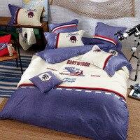 Набор пододеяльников для пуховых одеял комплект 4 шт. качество атлас из египетского хлопка Постельное белье дети самолет аппликация шелков