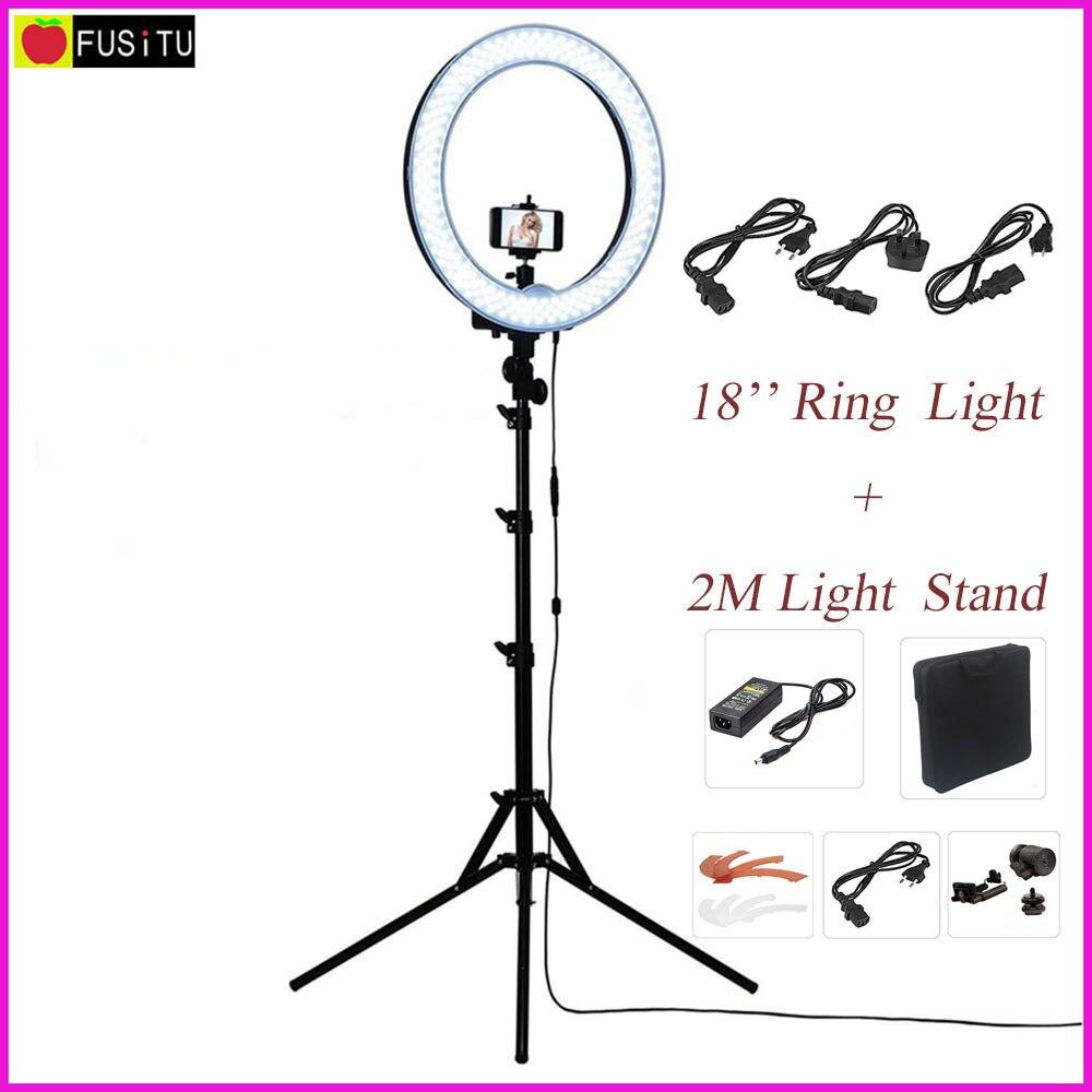 Fusitu 18 RL-18 внешняя регулируемая LED подсветка в виде кольца для фото и видео, набор с 2 м. триодом, подставкой для подсветки, для DSLR камер, смартф...