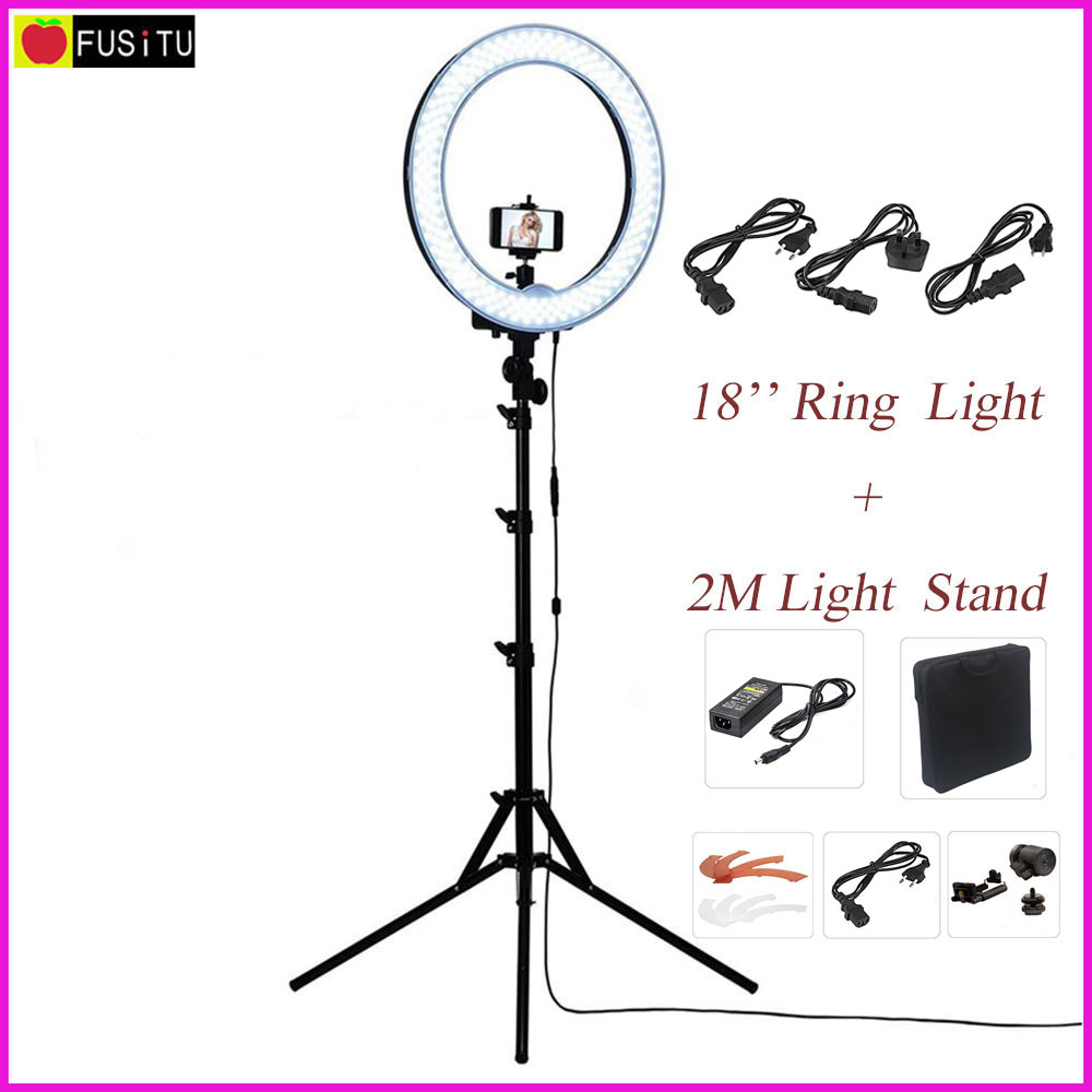 "Fusitu 18 ""RL-18 Utendørs Dimmable Photo Video LED Ring Light Kit med 2M Tripod Light Stand for DSLR Camera Smartphones"