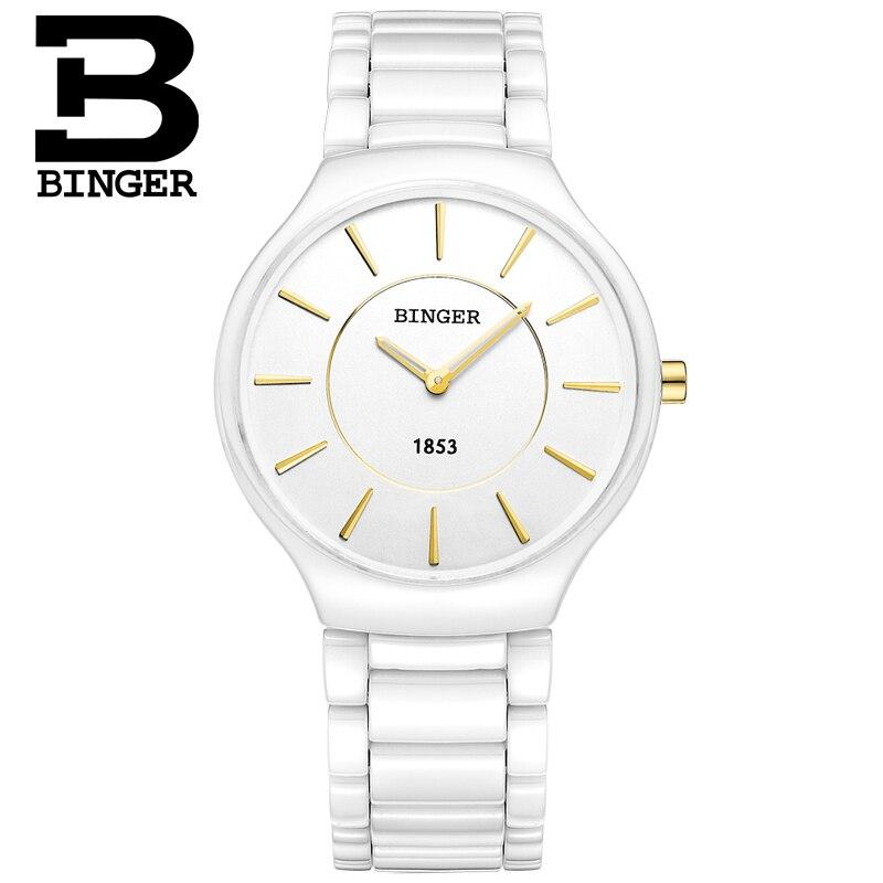 Fashion Elegant Women White Ceramic Watches Imported Quartz Lovers Bracelet Wrist Watch Simple 2 Hands Analog Watch Men Relogios