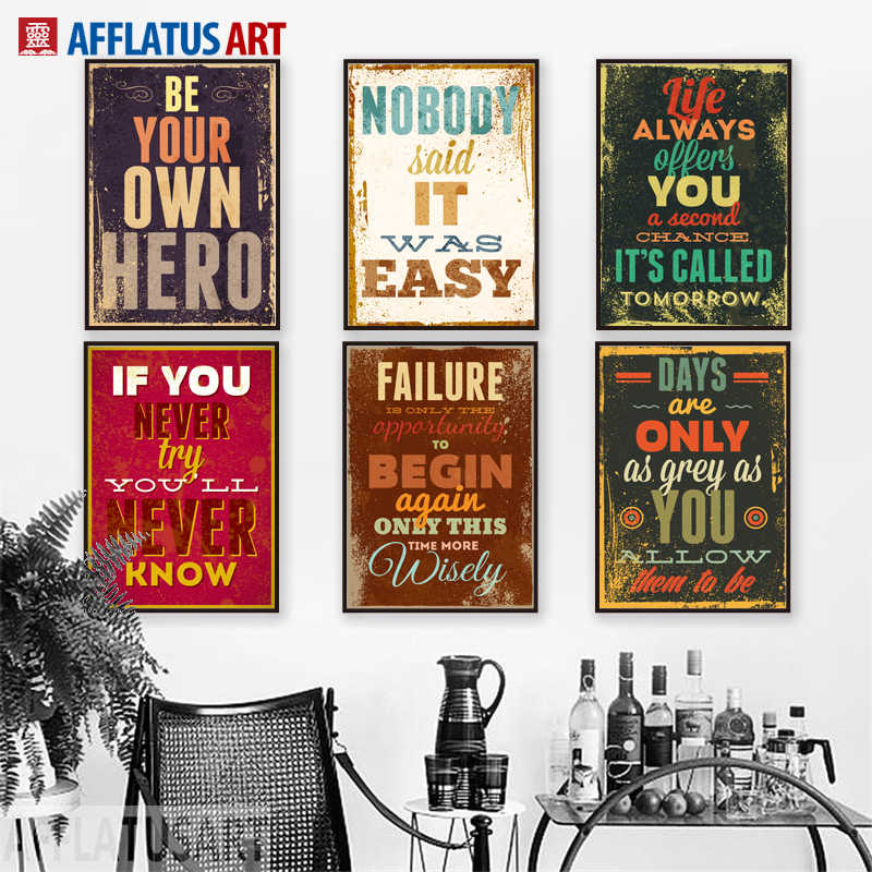 AFFLATUS Motivational Typography Life Quotes A4 Vintage Retro Art Prints Poster Hippie Wall Pictures Canvas Painting Home Decor