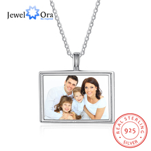 Family Love Rectangle Personalized Custom Color Photo Name Necklace 925 Sterling Silver Anniversary Jewelry (JewelOra NE102088)