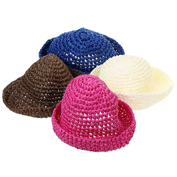 1pc Trendy Women Girls Brim Summer Beach Sun Hat Straw Paper Floppy Country  Style Cap Hats Country style Hat 4 colors HO677381 faf4f894f20