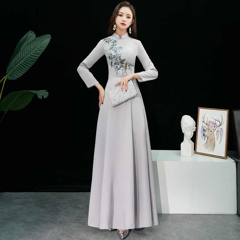 グレーサテン刺繍オリエンタルスタイルドレス中国の花嫁ヴィンテージの伝統的な結婚式のチャイナドレスロングマーメイド袍サイズ