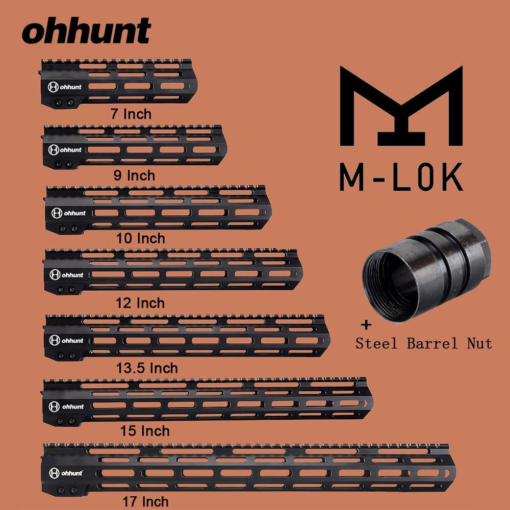 Ohhunt M-LOK Tático Ferroviário Handguard 7 9 10 12 13.5 15 17 M LOK Free Float Picatinny Rail Bracket com a Porca do Tambor De Aço