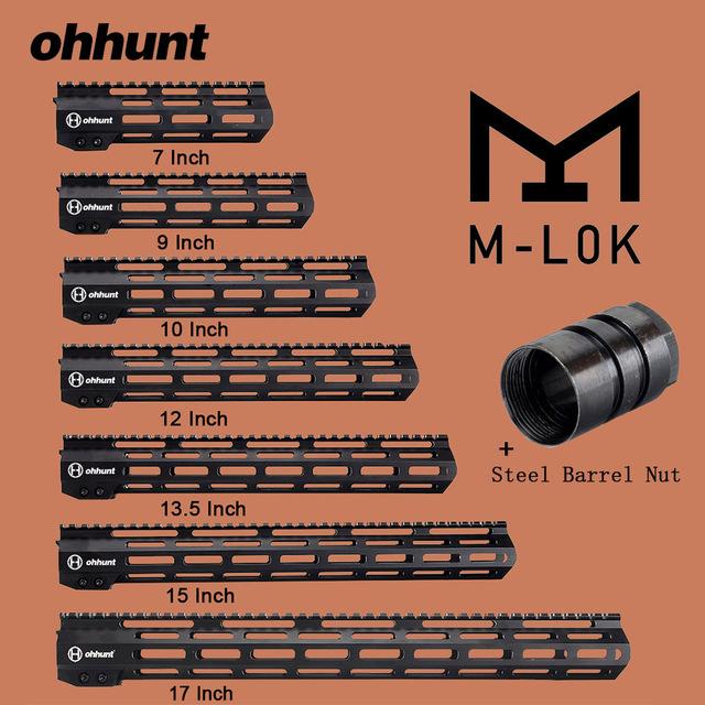 ohhunt Tactical M-LOK Handguard Rail 7″ 9″ 10″ 12″ 13.5″ 15″ 17″ M LOK Free Float Picatinny Rail Bracket with Steel Barrel Nut