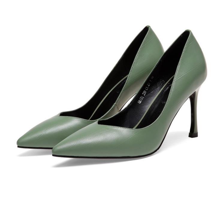 vert Femmes Peu De En Automne Talons Profonde Aiguilles jaune Noir Clair Bouche Cuir Simples Pointu 2018 Chaussures Nouveaux Bas Femelle 4qRfT4WO