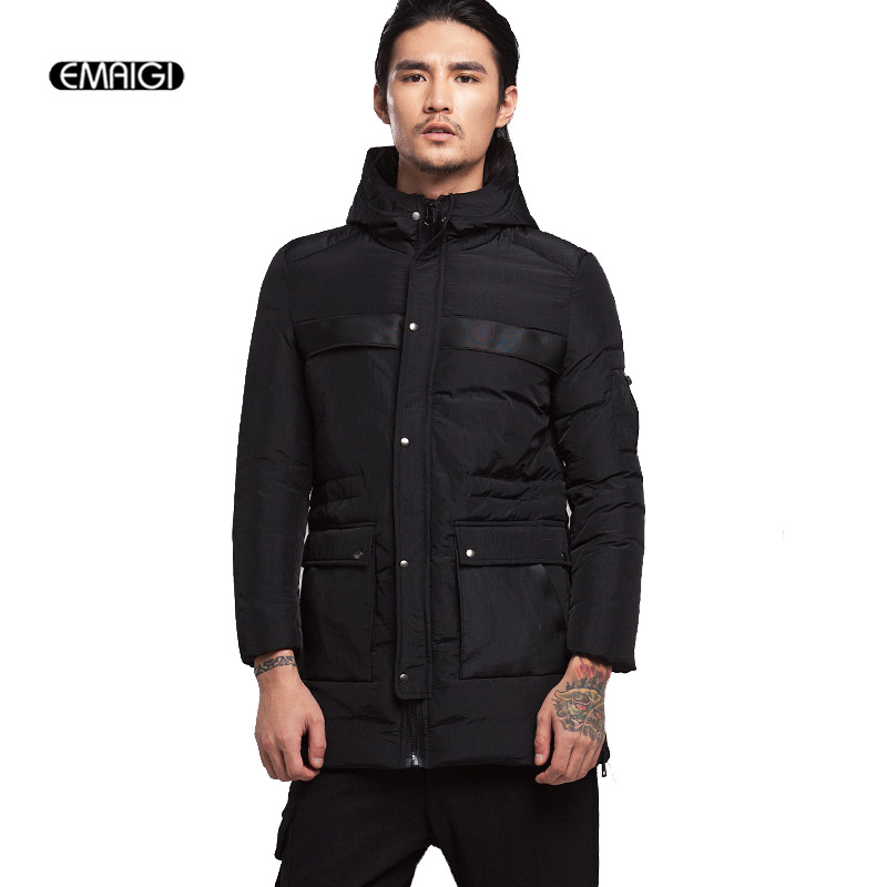 2017 New Men Winter Thicken Hooded Parkas Jacket Male Fashion Casual Warm Padded Cotton Slim Fit Hood Coat Outerwear цены онлайн