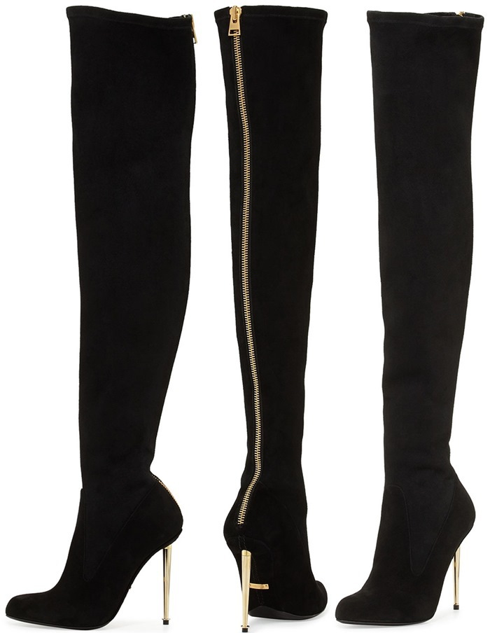 Stretch 2016 Fashion Leather Metal Stiletto Over The Knee Boot ...