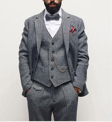 Motif Costume veste Mariage Tweed ardoisé custom Pantalon Gilet noir Color 3 Dernières Robe Rétro Hommes Chevrons À De As Fit Picture Slim Pièce wq6tq