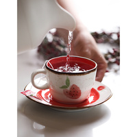 creative strawberry printed under glazed ceramic espresso cups office home coffee Europe style tea cup set cup&saucer sets