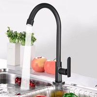 Black Chrome Brass Kitchen Faucet Spout Swivel Sink Mixer Tap G1 2 Modern Kitchen Basin Faucet