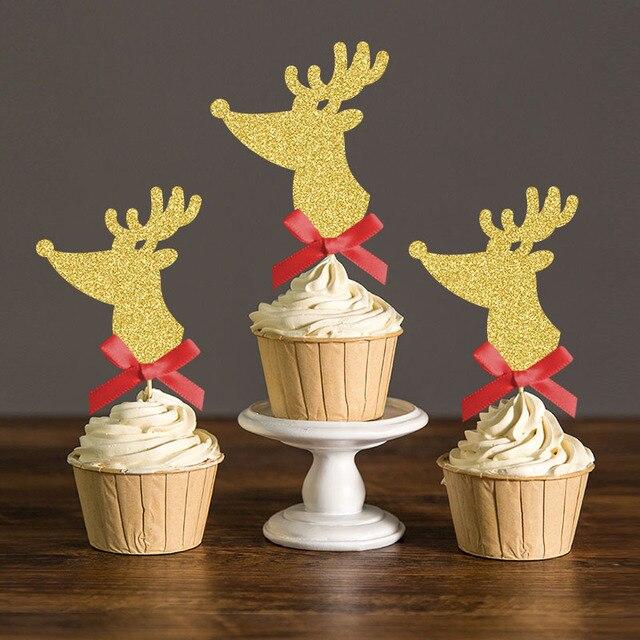 Lazo Rojo Con Deer Cupcake Toppers Selecciones Para Weddng Navidad