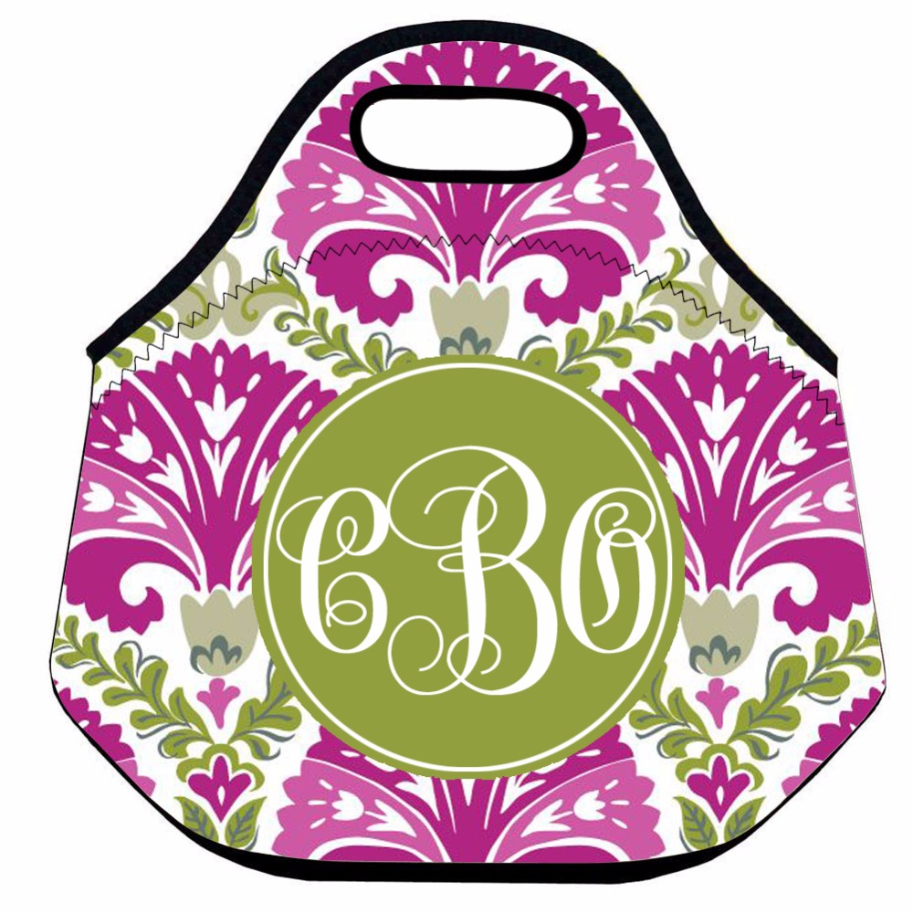 Initials Custom Neoprene Lunch Bag for Women,Flower Thermal Lunch Bag, Kids Insulated Lunch Box Bag,Picnic Box Bag,Lunch Tote